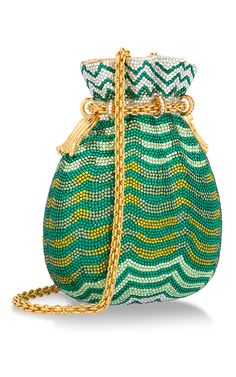 Green And Yellow Miser's Bag Minaudiere by HERITAGE AUCTIONS SPECIAL COLLECTION for Preorder on Moda Operandi