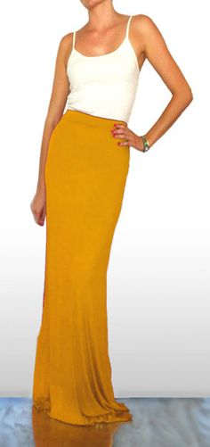 Mustard Yellow Maxi Skirt by SarahLMeyers on Etsy, $45.00