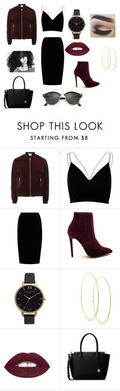 """""""Velvet and Black"""" by curlydubby9 ❤ liked on Polyvore featuring Dorothy Perkins, River Island, Jupe By Jackie, Olivia Burton, Lana, MICHAEL Michael Kors, Ray-Ban and VelvetBomberJacket"""