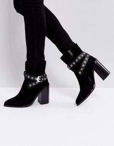 Sol Sana Tessa Black Suede Leather Heeled Ankle Boots - Black