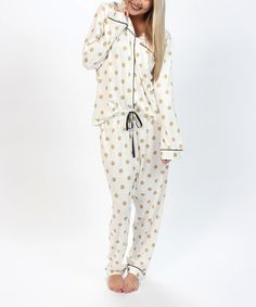 Another great find on #zulily! White & Gold Polka Dot Pajama Set #zulilyfinds