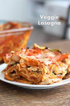 VVegan Veggie Lasagna. Easy Lasagna for 2 with herbed mushrooms, greens, tofu thyme ricotta, chao cheese slices . Vegan Recipe | VeganRicha.com