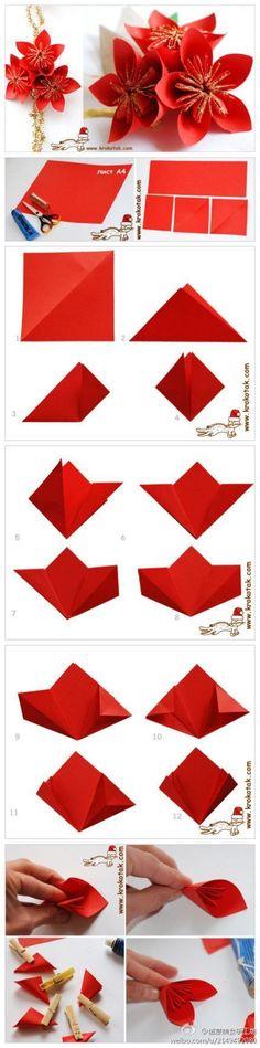 DIY Christmas poinsettia paper flower bouquet tutorial