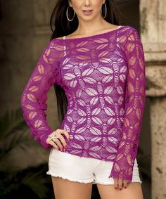 Magenta Lace-Overlay Long-Sleeve Top | zulily