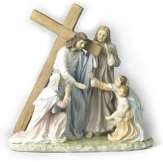 Jesus with Cross Via Dolorosa, Way of Suffering Religious Figurine Statue Sculpture-Home Décor-Decorations-Christian Related Gifts-Available for Sale at AllSculptures.com