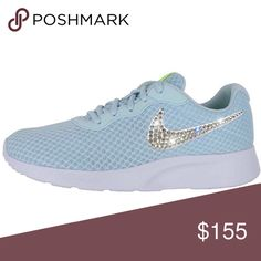 Bling Nike Tanjun Shoes with Swarovski Crystals 💎 Authentic New Women s Nike  Tanjun Shoes in Glacier d91ec0649