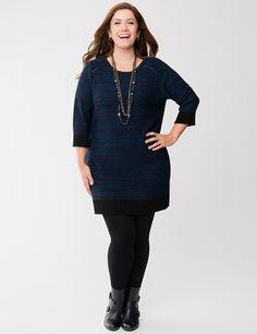 Plus Size Space Dye Sweater Dress by Lane Bryant | Lane Bryant