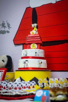 Snoopy birthday party cake and treats! See more party planning ideas at CatchMyParty.com!