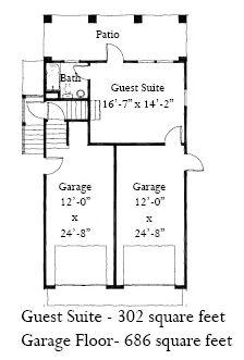 First Floor Plan of Historic   Garage Plan 73751