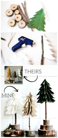 Rustic felt Christmas trees DIY. Awesome crafts idea for your Holiday decor. Easy to recreate this decoration and get assistance from kids.