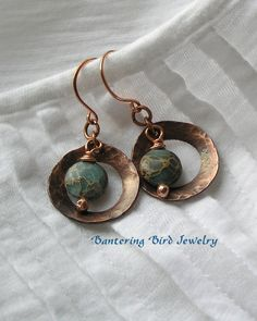 Hammered Copper Tear Shaped Rings with Light Blue Aqua Terra Jasper Drops