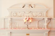 romantic candlelit fireplace mantle.