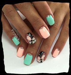 Nail art rose/green