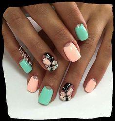 Nail art rose/green