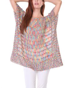 Look what I found on #zulily! Pink & Green Variegated Cape-Sleeve Sweater by Radzoli