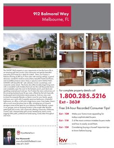 912 Balmoral Way, Melbourne, FL. SHORT SALE. Live the luxury life in an amazing golf and country club community and get this beautiful executive pool home for a steal-of-a-deal! Here, you'll enjoy a fabulous flowing 4,380 sq. ft. floor plan with soaring ceilings, a grand staircase, wonderful windows everywhere, beautiful hardwood floors, and incredible preserve views. $559,000.  For more information visit us at RonSellsTheBeach.com or call (386) 871-7697.