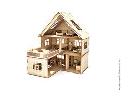 Кукольный домик с мебелью - домик,игрушка,Мебель,мебель из дерева,мебель для кукол