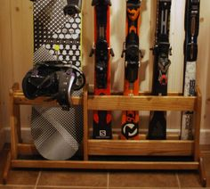 Freestanding Wooden Ski Rack for Skis and Snowboards - White Oak for Outdoor or Indoor Use
