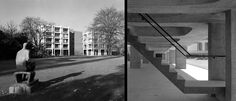 Cambridge in Concrete George Thomson Building (left) and University Library for the Arts Faculties (right), Cambridge. © Henk Snoek and Architectural Press Archive / RIBA Library Photographs Collection