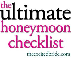 this is the only checklist you need for planning your honeymoon! I'll be glad I pinned this one day
