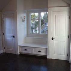 possible closet on each side of window seat in bonus room.  Would need to ensure that closet doors do not hit the slanted ceiling when they swing open..seems like they may by…