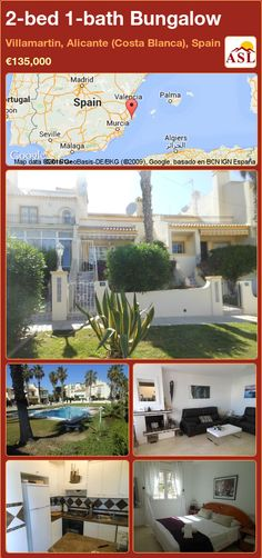 Bungalow for Sale in Villamartin, Alicante (Costa Blanca), Spain with 2 bedrooms, 1 bathroom - A Spanish Life Sun Awnings, Bungalows For Sale, Fitted Wardrobes, Built In Wardrobe, Murcia, Walk In Shower, Double Bedroom, Patio Doors, Alicante