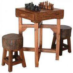Rocky Mountain Small Hill Country Chess Table by GroovyStuff Game Table And Chairs, Table Games, Club Chairs, Game Tables, Game Room Furniture, Log Furniture, Western Furniture, Country Furniture, Rustic Games