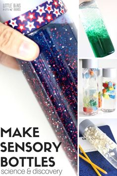 How to make sensory bottles and discovery bottles for kids for science and sensory processing.  You can help your child with sensory processing with these discovery bottles. An easy to create list of bottles that encourage your child's sensory awareness, and also tie in fun with science. Sensory fun and early elementary science education all rolled into one. Simple sensory bottles you can create at home.  #sensorybottles #elementaryscience