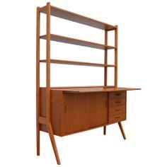 swedish midcentury modern teak desk and hutch