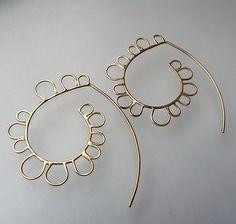 Hilly Hoop Hooks in 14K: Moira Lime: Gold Earrings - Artful Home