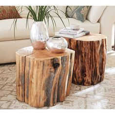 Pottery Barn Reclaimed Wood Stump Table ($269) ❤ liked on Polyvore featuring home, furniture, tables, handmade furniture, reclaimed wood table, reclaimed barn wood table, reclaimed wood furniture and hand made furniture