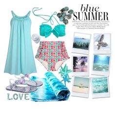 """""""Blue summer"""" by bettysilver ❤ liked on Polyvore featuring DENY Designs, Brika, Accessorize, Roman, Blue, beachwear and bikiniset"""