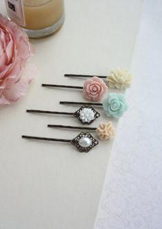 Pink, Mint, Peach, Ivory Hair Pins Clips, Ivory Rose Pearl Flower Bobby Hair Pin, Bridal Wedding, Set of Six, 6 Hair Pins