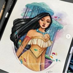 Pocahontas 💓Their songs are so meaningful and we never get tired singing it together with our parents ❤️🍃 . Cool Art Drawings, Art Drawings Sketches, Disney Drawings, Cartoon Drawings, Disney Canvas Art, Disney Fan Art, Cartoon Kunst, Cartoon Art, Pinturas Disney