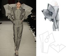 """Her debut fashion line, inspired by The Mobius Strip (a single-sided surface), is an exploration in geometry and the relationship between math and beauty, featuring modern and futuristic orgami-like cuts and silhouettes. Using 3D modeling, Page creates her design, but subsequently """"flattens"""" it into a 2D image, from which a pattern is made on paper and fabric, and then combined together to create a 3D form."""