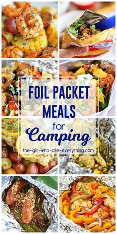 these delicious foil packet meals for camping on your next camping trip. Great ideas to change up your summer menu too!Try these delicious foil packet meals for camping on your next camping trip. Great ideas to change up your summer menu too! Foil Packet Dinners, Foil Pack Meals, Foil Packets, Tin Foil Dinners, Campfire Food, Campfire Recipes, Bonfire Food, Campfire Desserts, Cookout Food