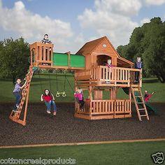Wooden Swing Set Kit Outdoor Playset Woodridg Backyard Playground Slide Swingset