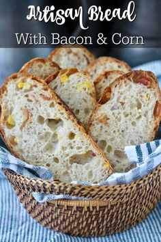 Artisan Bread with bacon and corn Sandwich Bread Recipes, Best Bread Recipe, Easy Bread Recipes, My Recipes, Flatbread Recipes, Dessert Recipes, Favorite Recipes, Corn Pancakes, Bacon Muffins