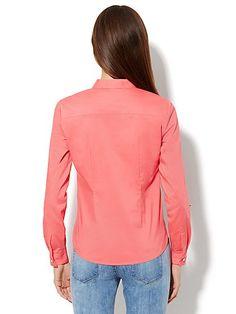 Gingham-Trim Popover Shirt - New York & Company