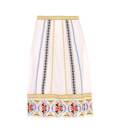 Tory Burch - Adriana embroidered cotton skirt - Folkloric patterns and intricate embroidery bring bohemian charm to Tory Burch's Adriana skirt. Crafted from ivory-white cotton voile, the elegant style sits on the waist and falls into a true A-line silhouette with a midi length. Wear yours with yellow slingback pumps to draw out the vibrant shades of this exquisite piece. seen @ www.mytheresa.com