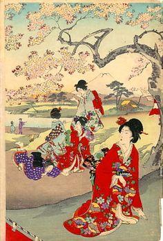 Chikanobu Youshuu 豊原周延 (1838-1912) Ladies in waiting at Chiyoda Palace for cherry blossoms party - Chiyoda Ooku Ohanami - 1894