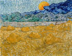 Vincent van Gogh: Landscape with wheat sheaves and rising moon, 1889