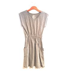 Poof Jersey Dress Amazingly comfortable and cute jersey dress! Gathered at the waist, pockets, cute button details on one shoulder and very flattering ❤️. Tag is L but it fits more like a S or M. Poof! Dresses