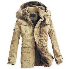 New Fashion Men's Fleece Faux Fur Winter Coat Hoodies Parka Overcoat Cotton Jacket lowest price