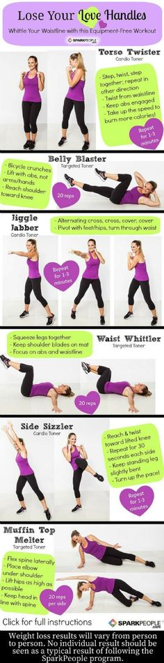 Aim to 'Lose Your Love Handles'. Lose your love handles in just a few simple moves! | via @SparkPeople