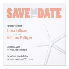 Coral and Gray Starfish Wedding Save the Date Card