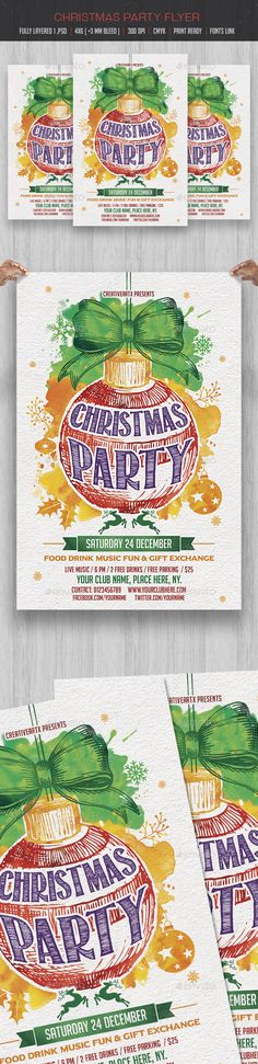 Christmas Party Flyer — Photoshop PSD #christmas event #christmas invitation • Download ➝ https://graphicriver.net/item/christmas-party-flyer/18783407?ref=pxcr