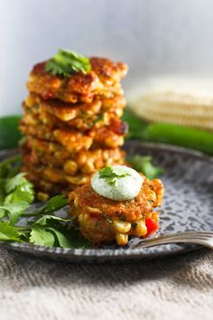 Spicy Corn Fritters with Cilantro Cream