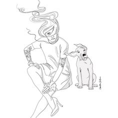 Windy sketch #illustration #illustrator #sketch #blackandwhite #wind #weather #hair #dog #pet #outside #tattoos #tattoo #friends #dress