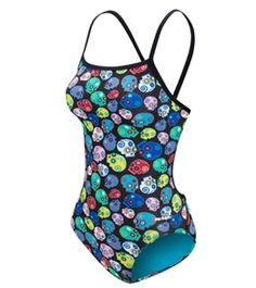 Get down to the grind every workout with the fierce Spiffiez Skulls Thin Strap Swimsuit. #swimoutlet